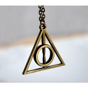 harry potter inspired deathly hallows symbol pendant