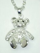 Moving arms and legs crystal teddy necklace