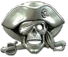 Pirates of the Caribbean One Eyed Jolly Roger Belt Buckle