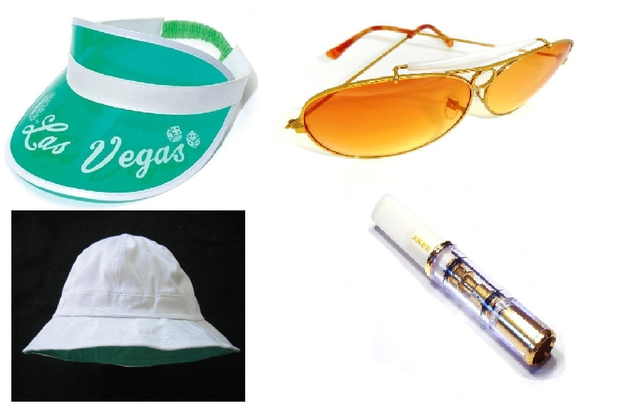 862d8aa10c Fear and Loathing in Las Vegas White Hat Green Visor Sunglasses and  Cigarette holder set