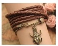 Supernatural Deans antique bronzed Amulet and star, brown leather platted wrap around bracelet, wrap twice for necklace